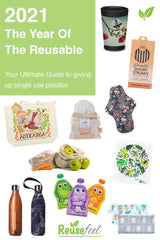 Title text '2021 The year of the reusable,' with pictures of a range of reusable products on a white background.