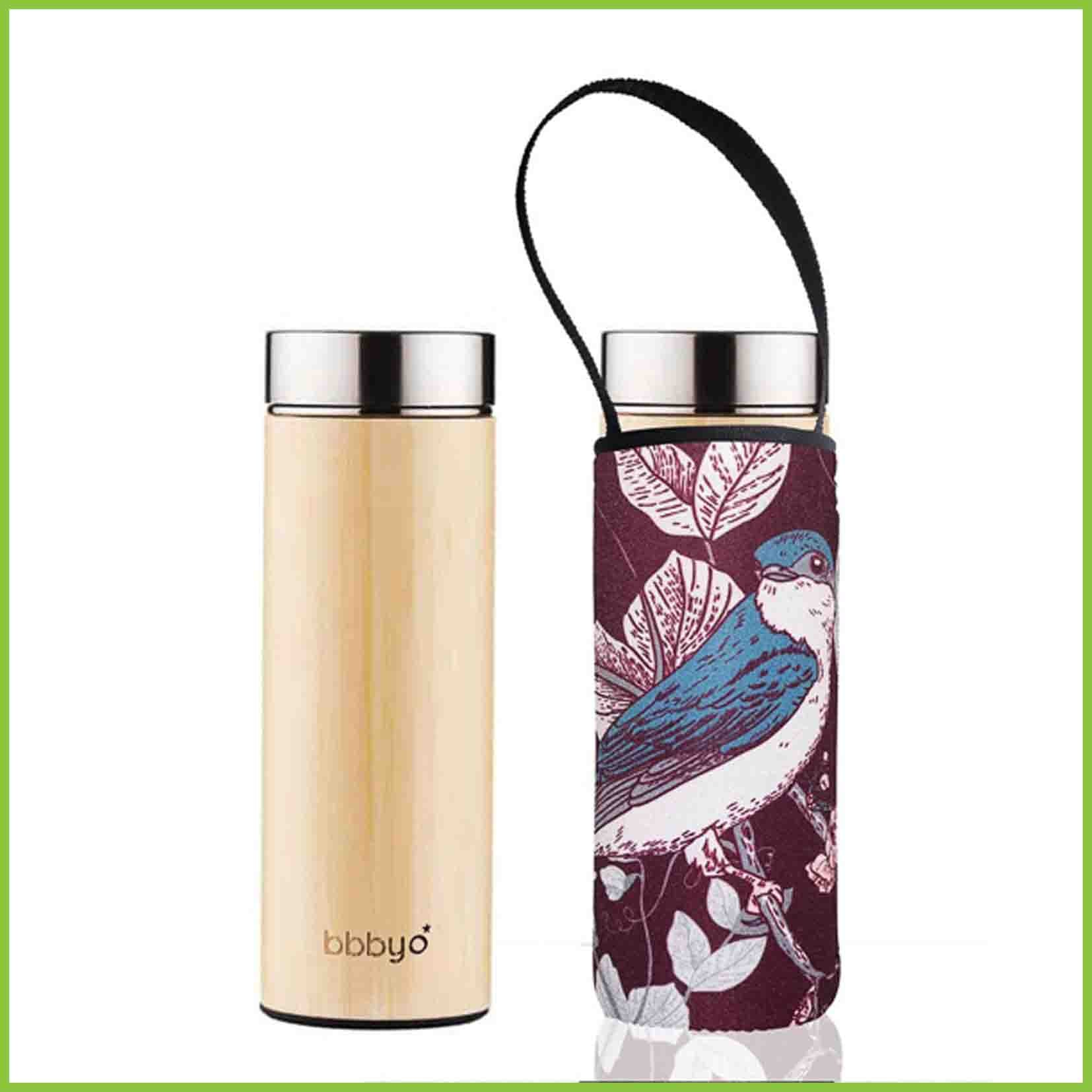 Bamboo tea flask with a maroon coloured carry cover with a bluebird design.