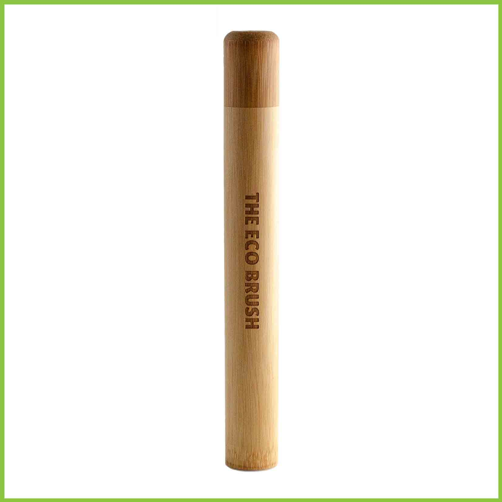 A toothbrush travel case from from bamboo.
