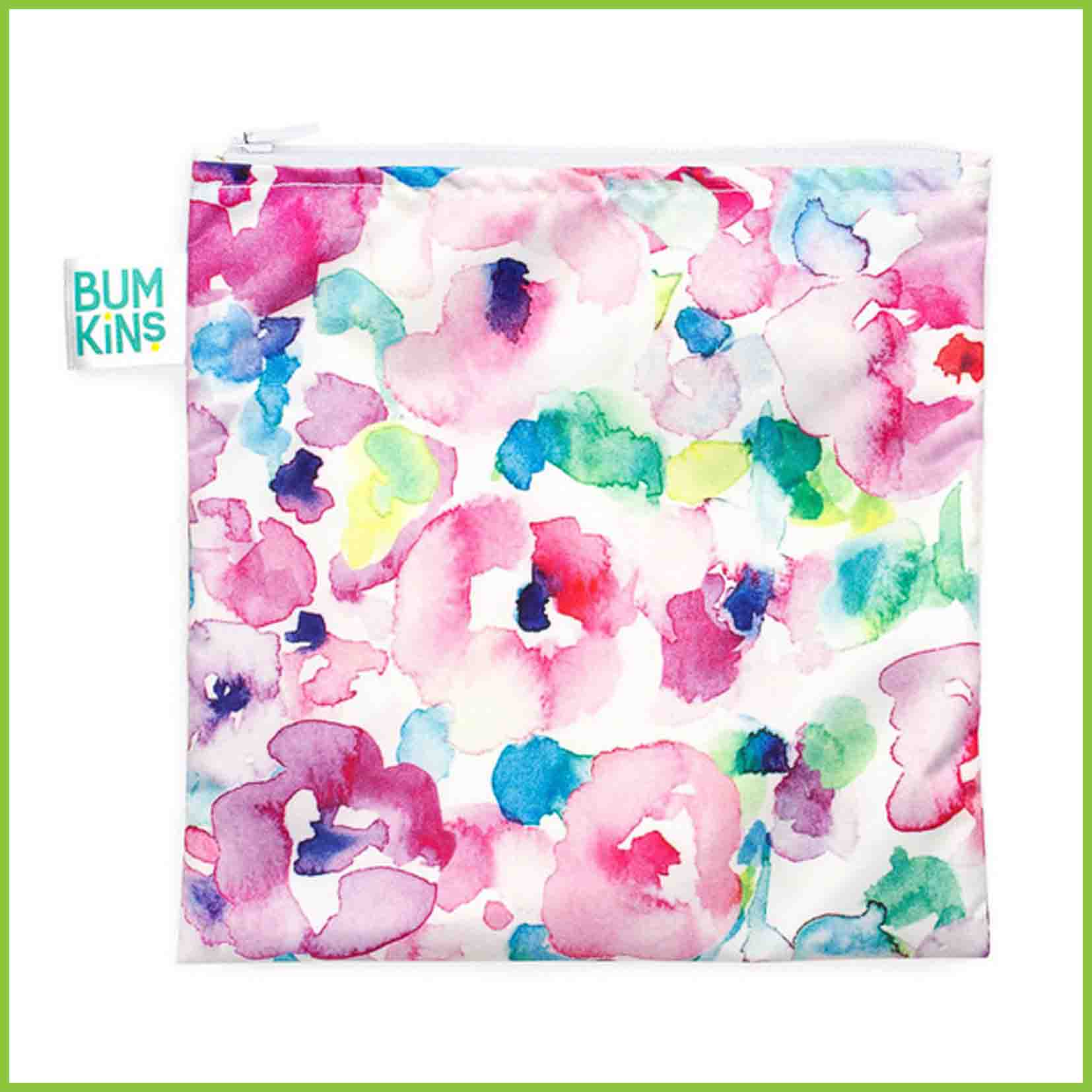A Bumkins sandwich bag with a pink watercolours design.