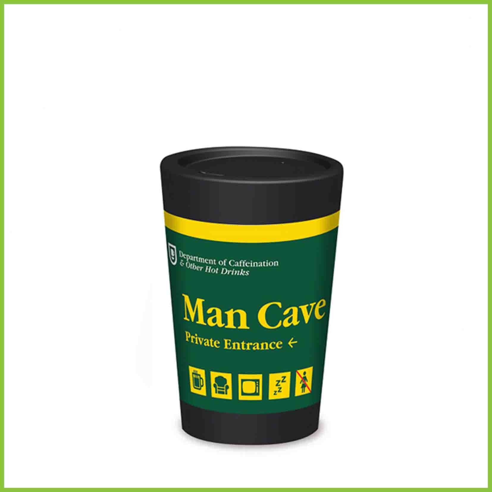 A lightweight reusable cup from CuppaCoffeeCup with a Mancave design.