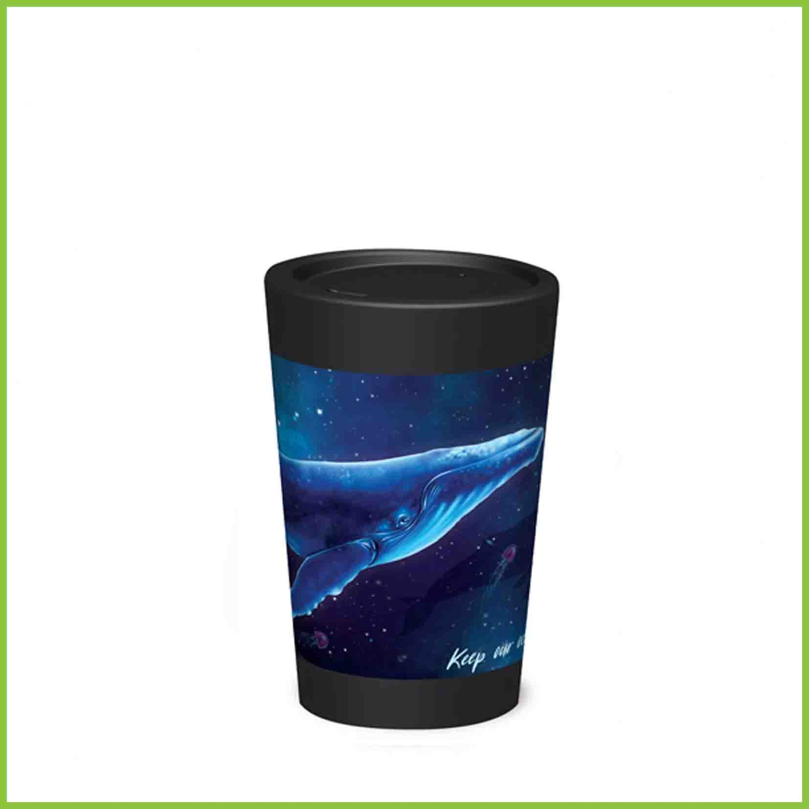 A lightweight reusable cup from CuppaCoffeeCup with a Humpback Whale design.