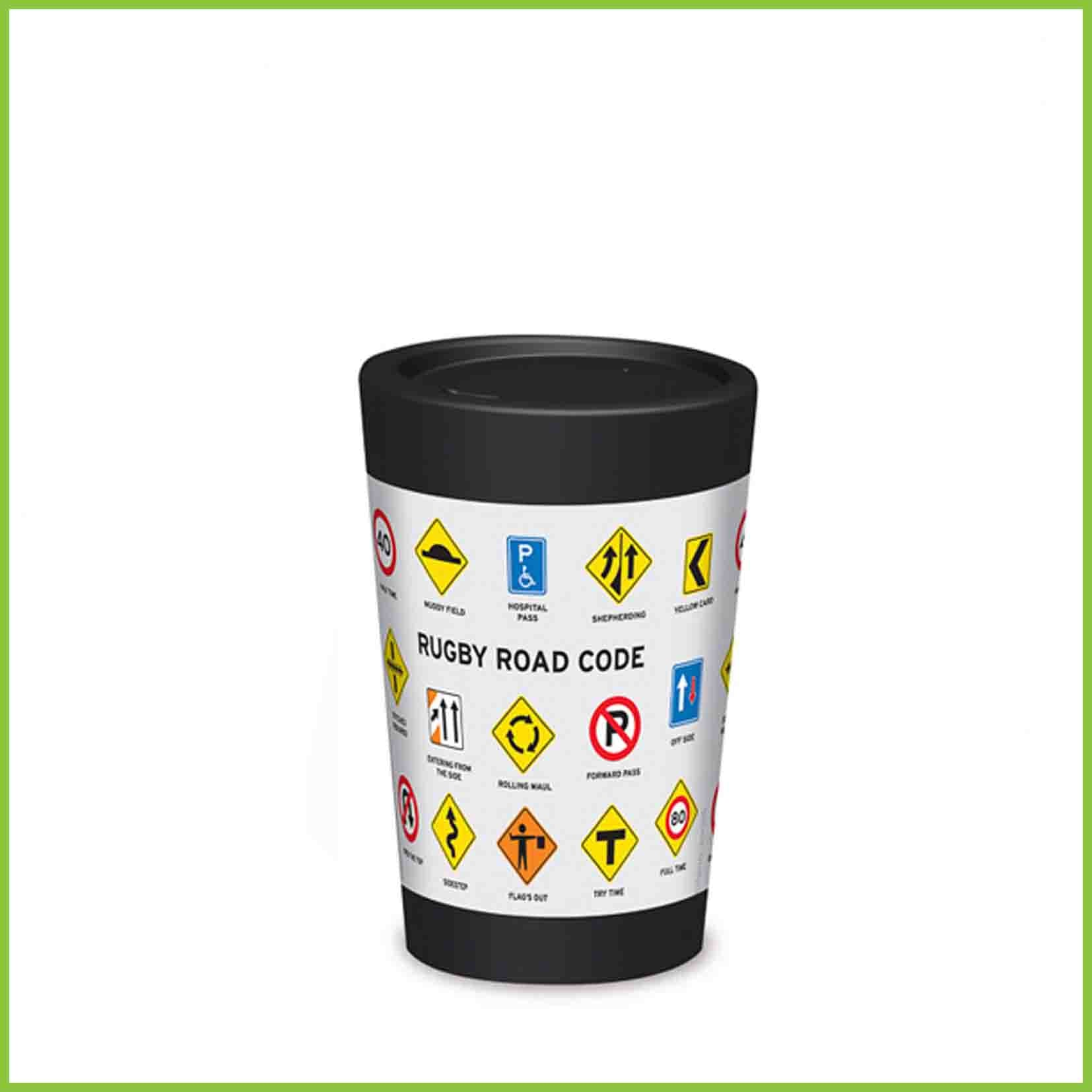 A lightweight reusable cup from CuppaCoffeeCup with a Rugby themed road signs design.