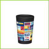 A CuppaCoffeeCup - A lightweight reusable coffee cup with a block design of coffee related words and pictures.