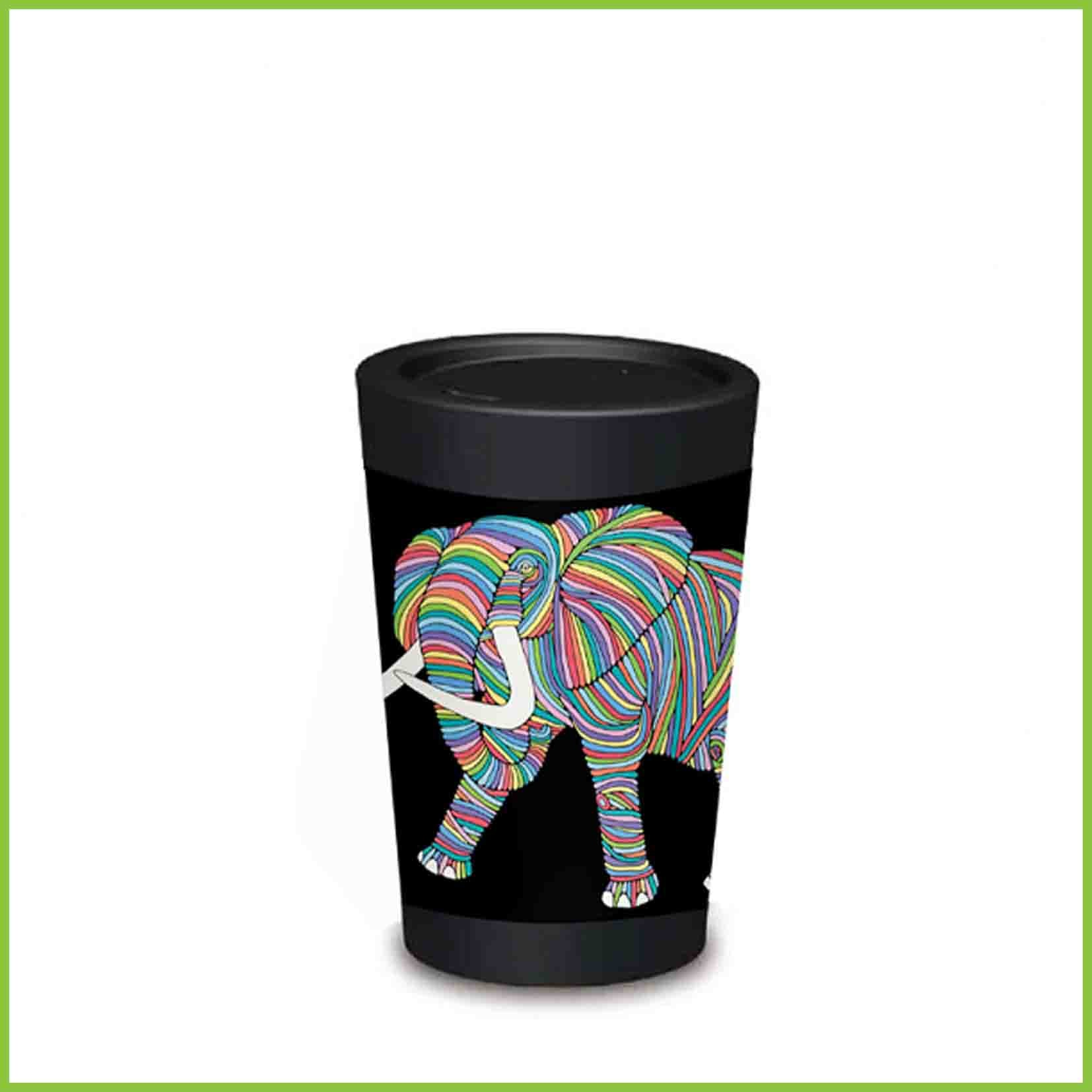 A lightweight reusable cup from CuppaCoffeeCup with a Elephant design.