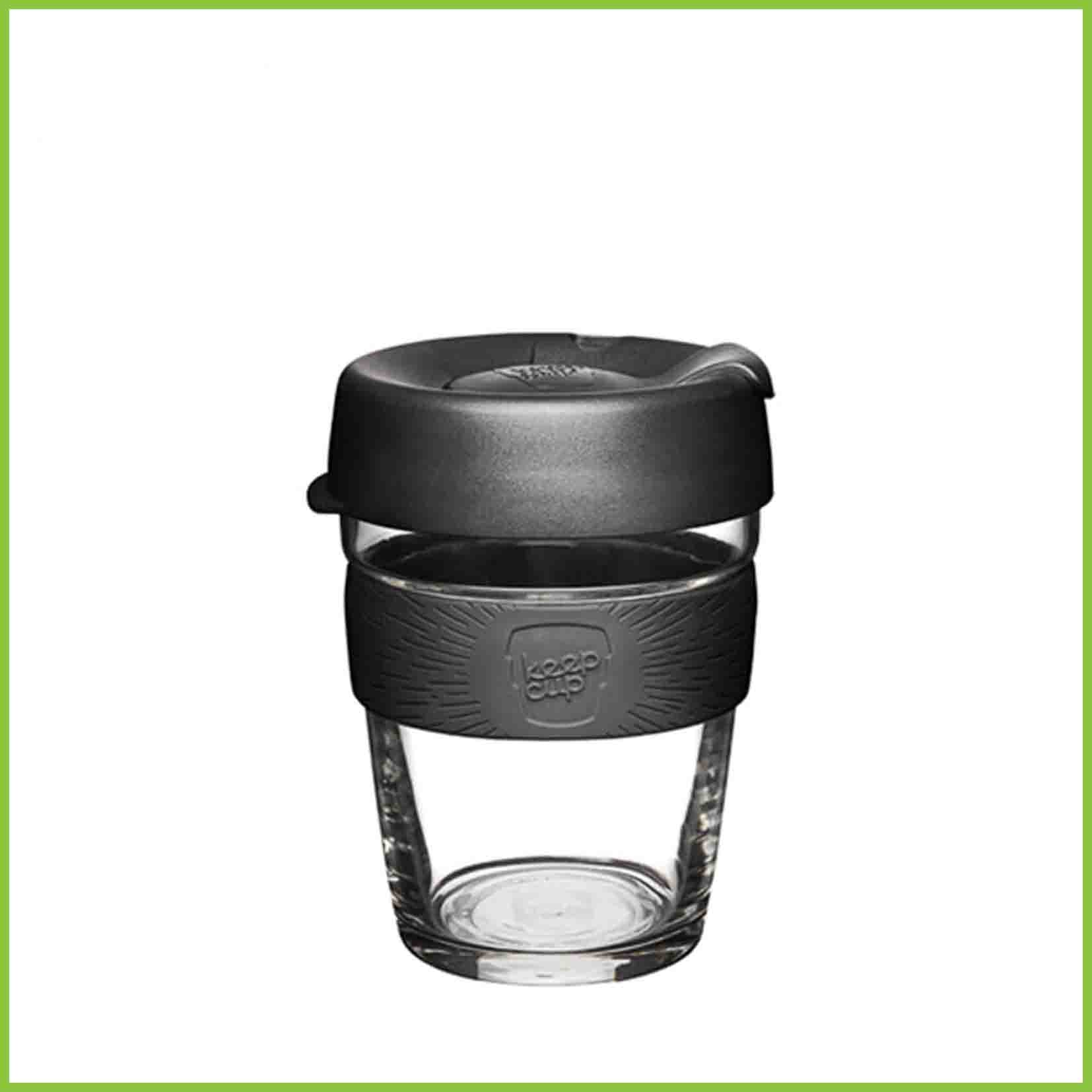 340ml reusable glass cup from Keepcup with a black lid and a black band.