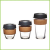 Three KeepCup Cork reusable cups.  One small, one medium and one large.