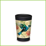 A CuppaCoffeeCup - A lightweight reusable coffee cup with a flying tui and two red roses.