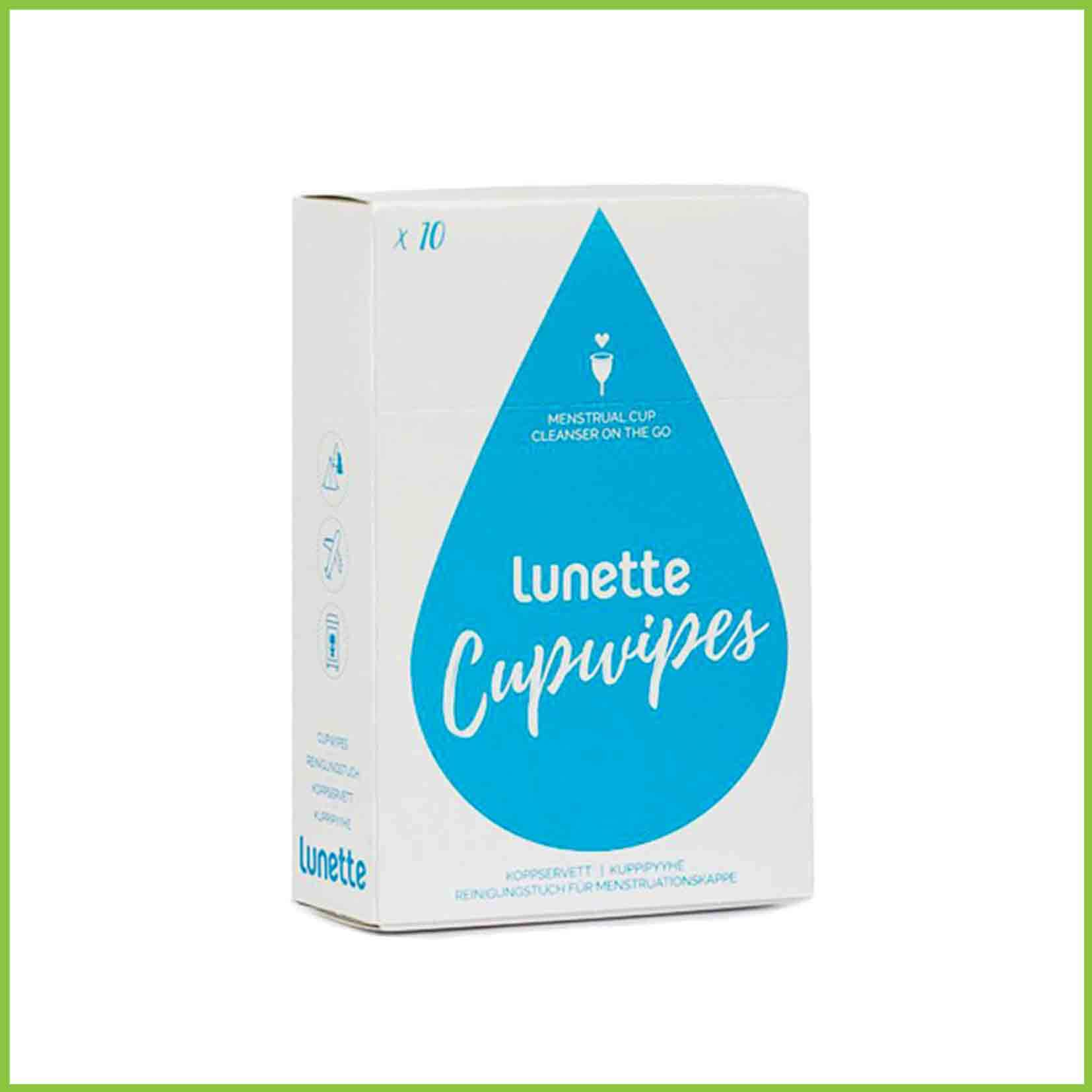 A 10 pack of Lunette cup wipes