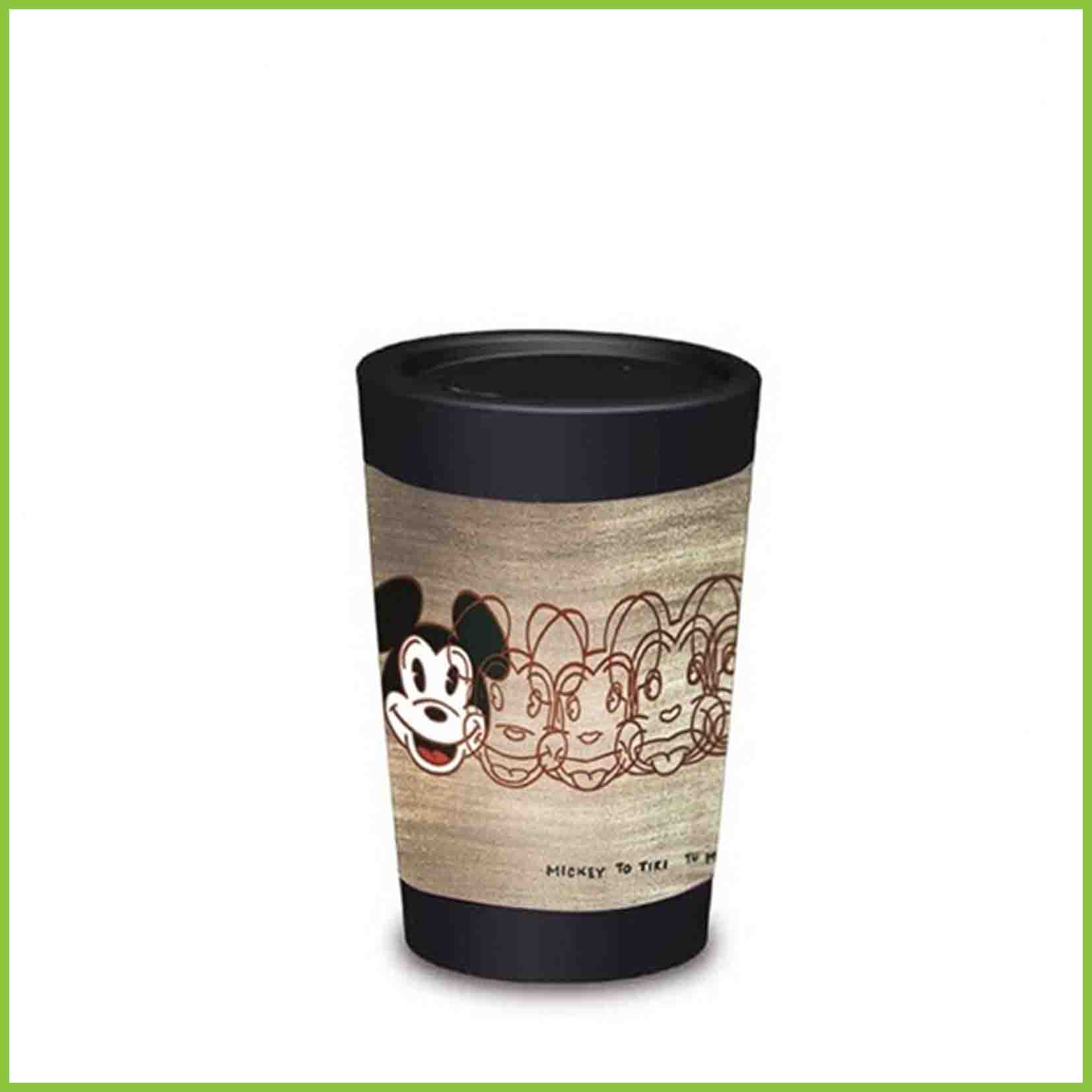 A lightweight reusable cup from CuppaCoffeeCup with a Mickey to Tiki design.