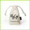 An organic cotton travel or storage bag for a My Cup menstrual cup.