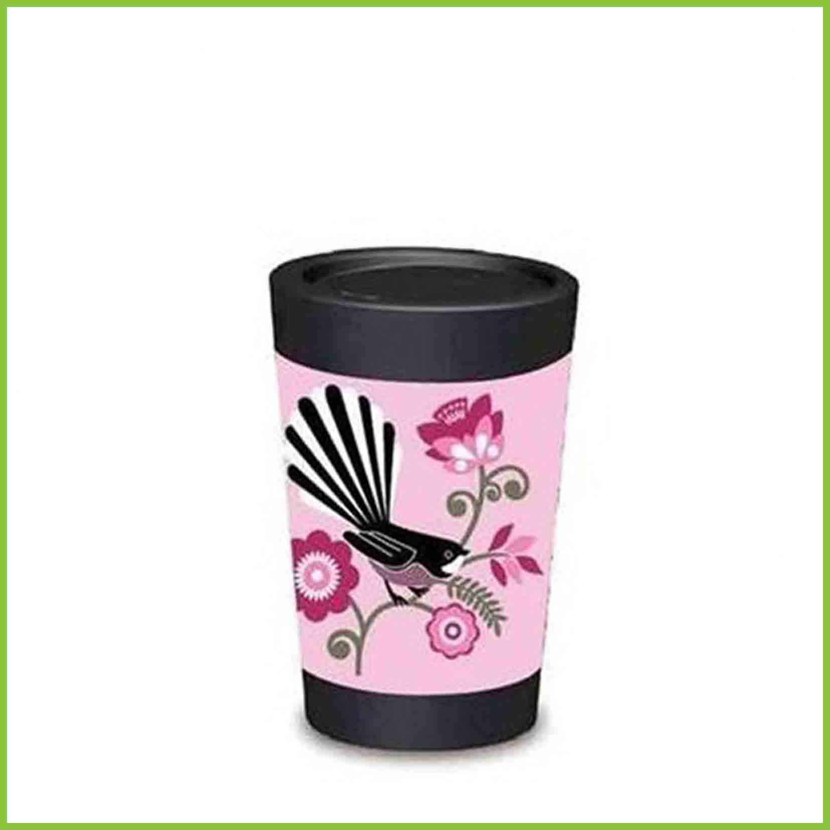 A lightweight reusable cup from CuppaCoffeeCup with a Pink Fantail design.