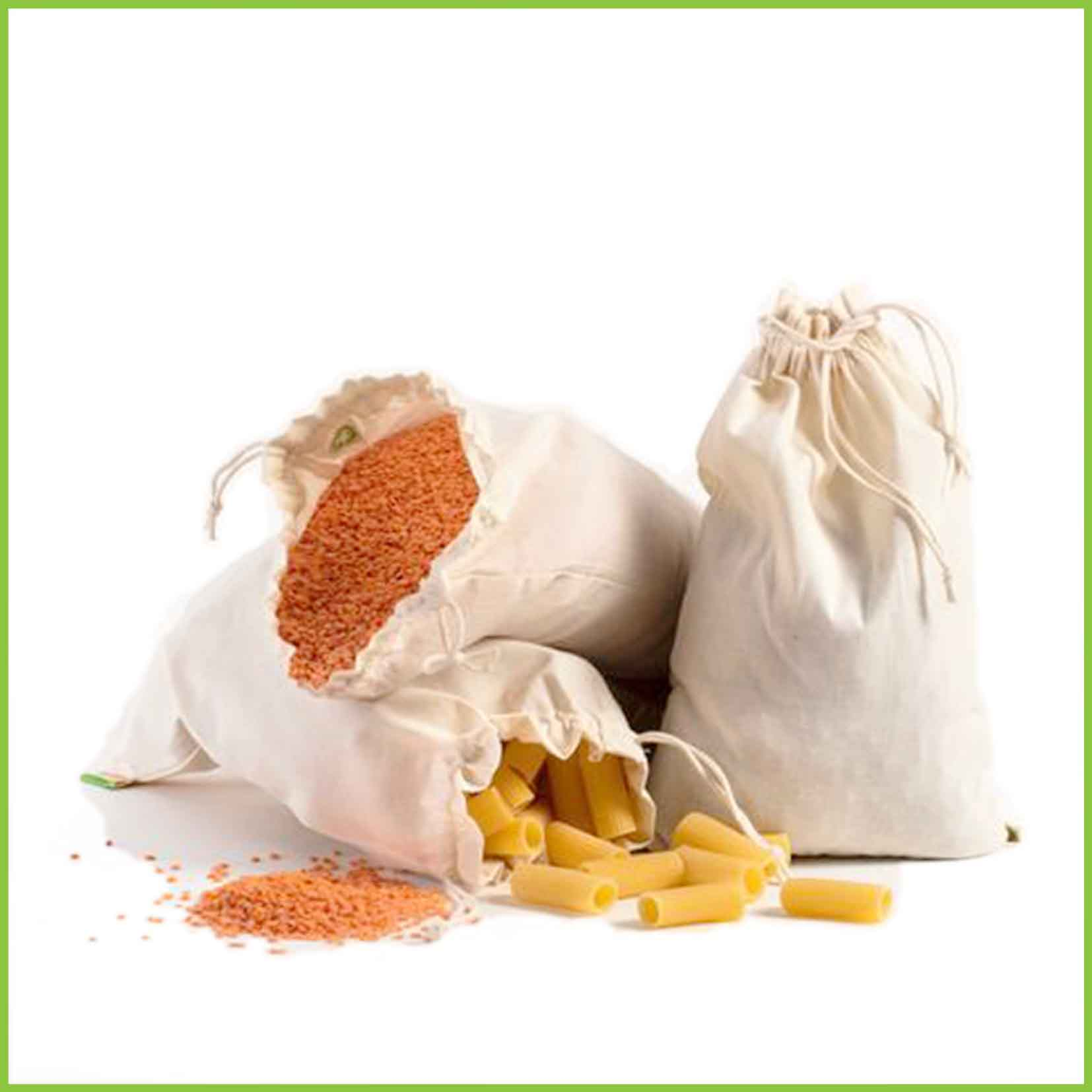 Three bulk bin bags holding dried foods, with pull string closures.