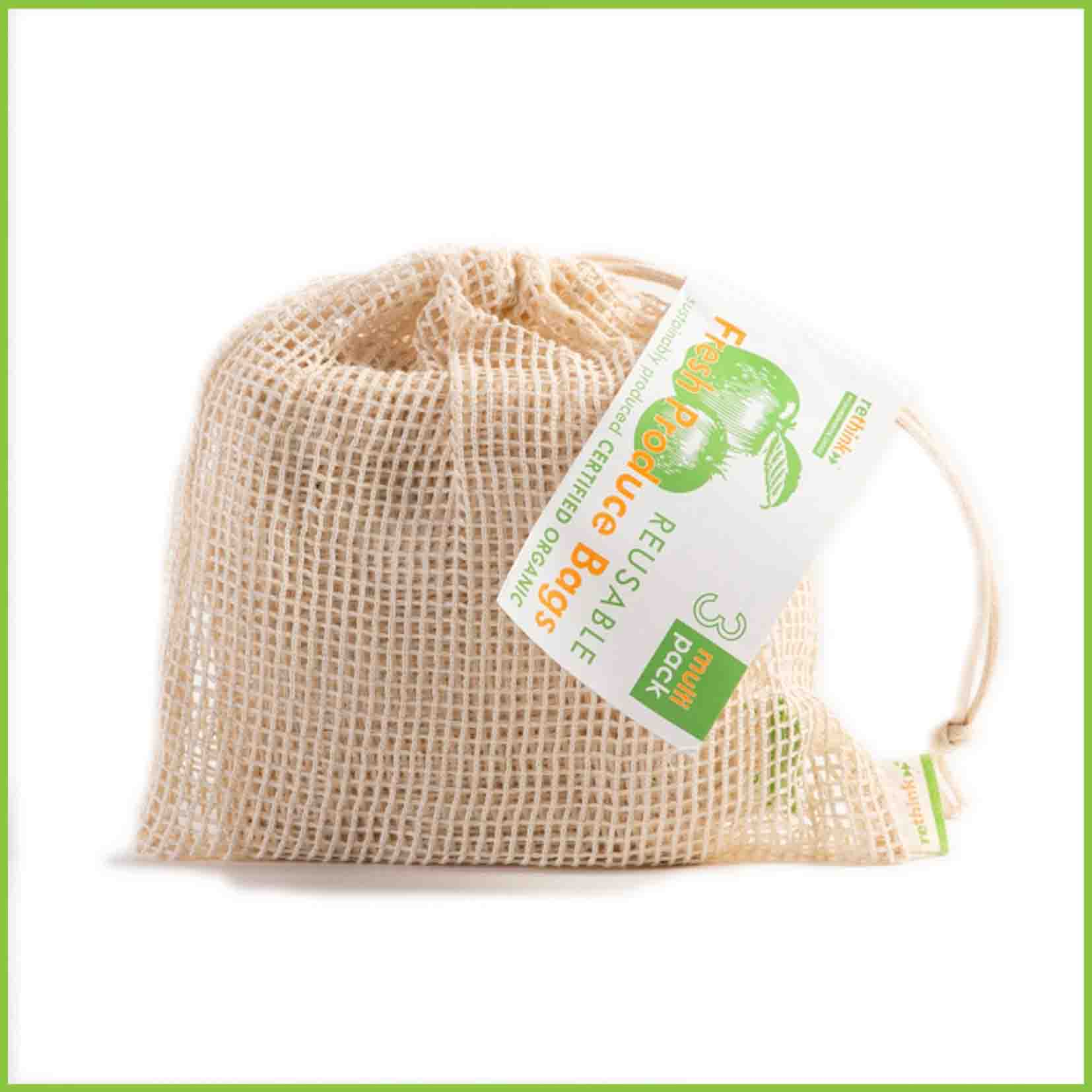 A multi pack of reusable veggie bags from Rethink.