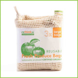 A three pack of reusable veggie bags from Rethink NZ.