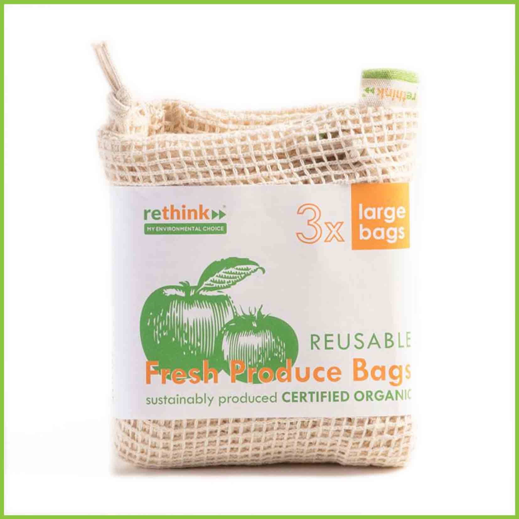 A three pack of large reusable veggie bags from Rethink.