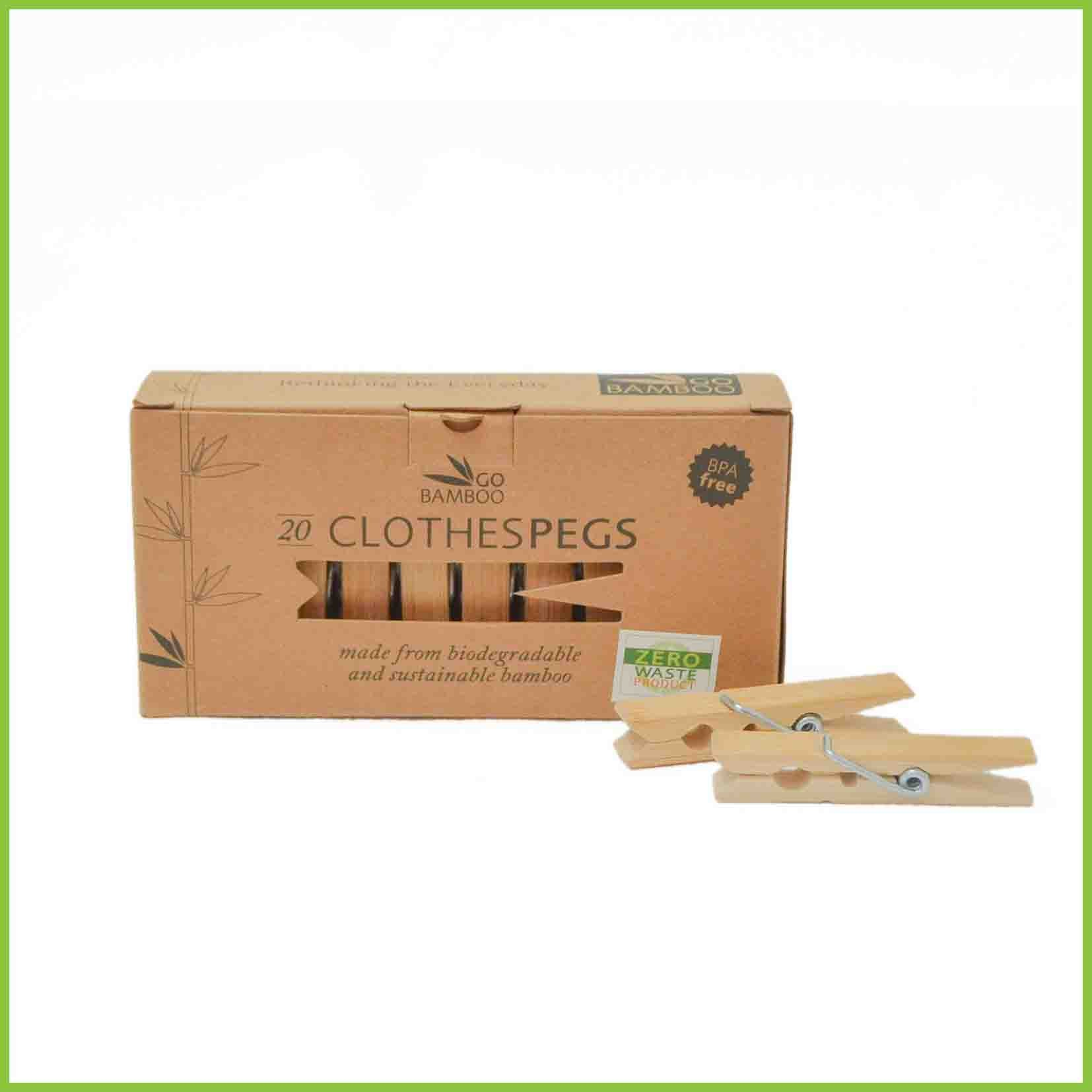 Go Bamboo clothes pegs in a box.