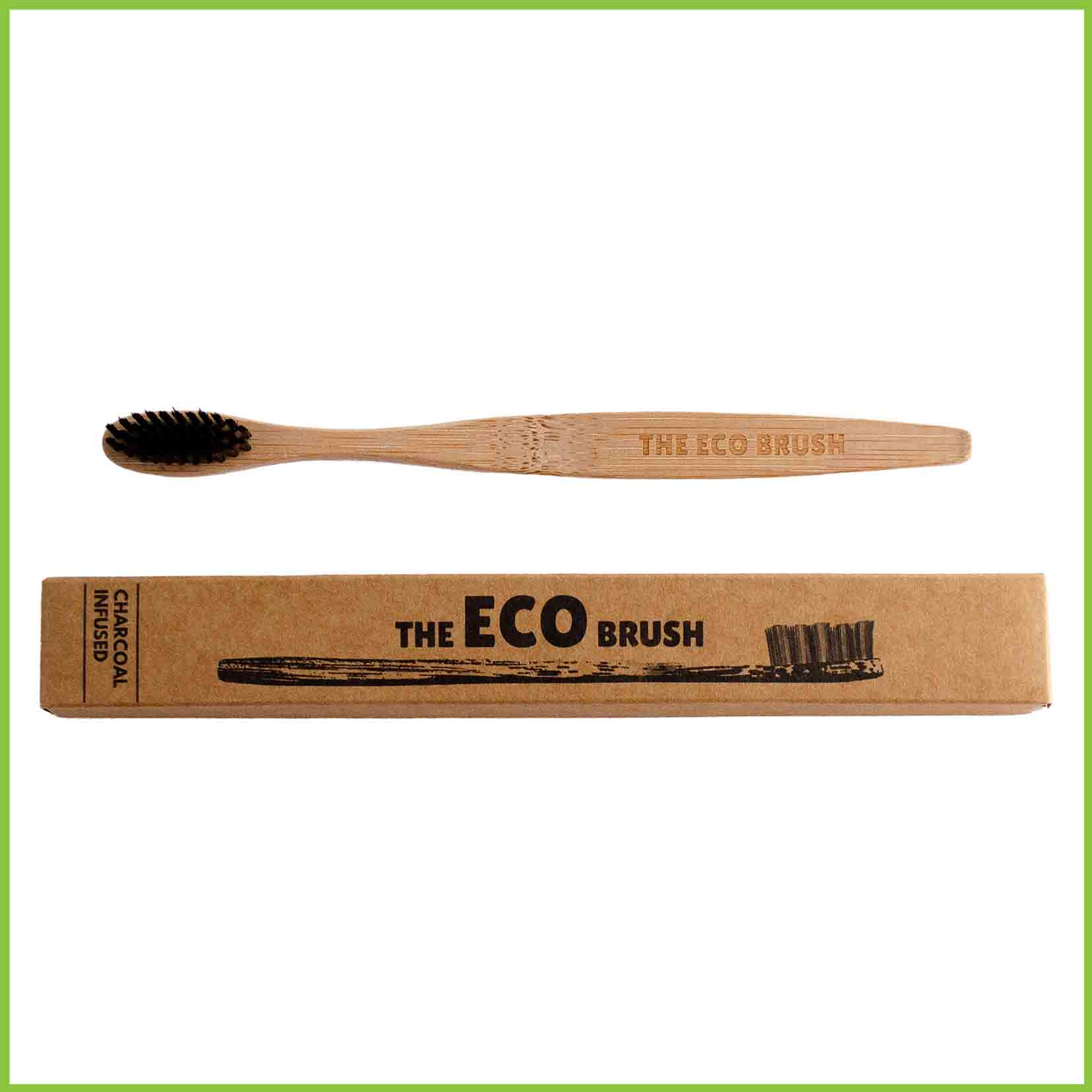 bamboo toothbrush with charcoal infused bristles.