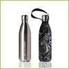 750ml double walled stainless steel bottle with a protective carry cover with a dark koru print.
