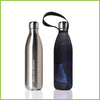 A silver stainless steel bottle and a carry cover with a blue and black prism print.