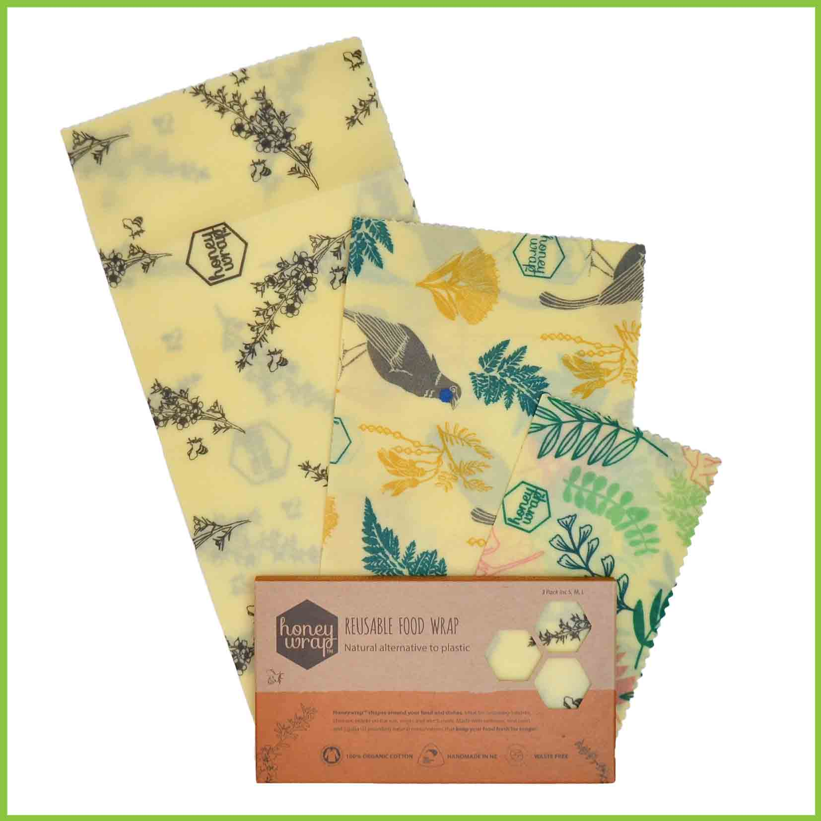 A 3 pack of Honeywrap beeswax wraps with a Nature theme.