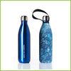 A 750ml double walled stainless steel blue bottle with a blue swirly wind print.