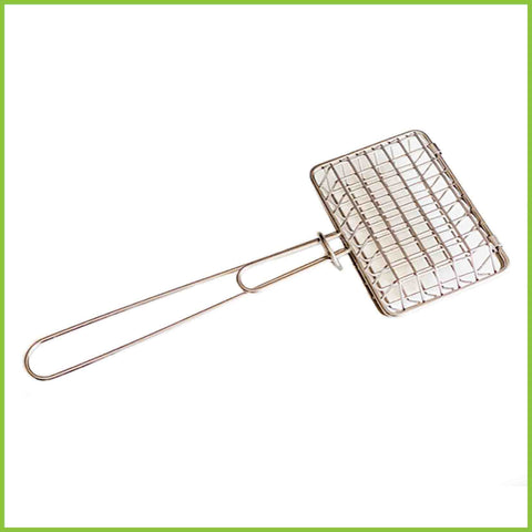 A stainless steel square cage with a handle to hold your solid bar of dish soap.