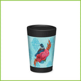 A CuppaCoffeeCup - A lightweight reusable coffee cup with a blue design of a tui and some big bright pink roses.