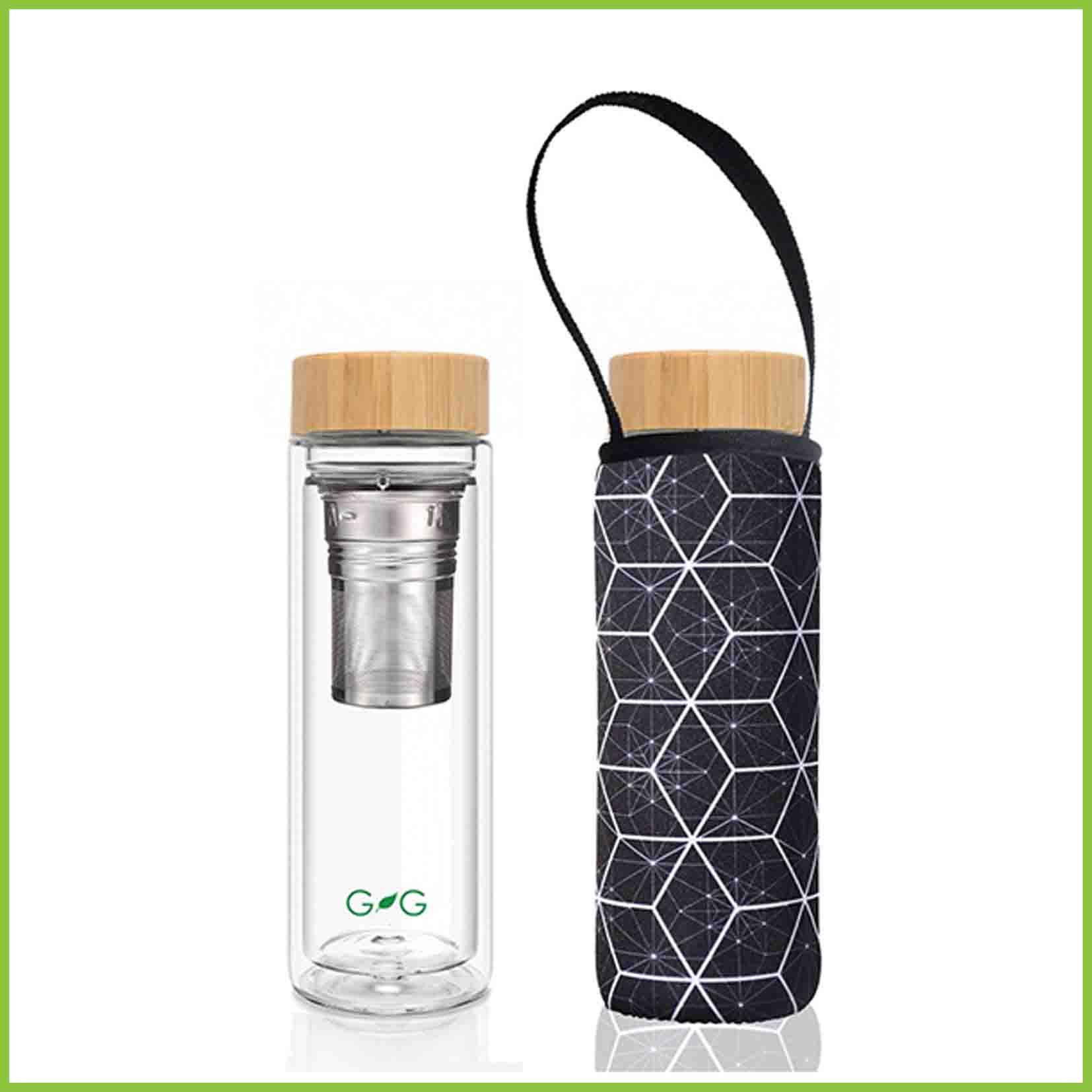 Double walled glass tea flask with a neoprene protective cover with a constellation print.