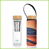 Double walled glass tea flask with a neoprene protective cover with a dessert sands print.