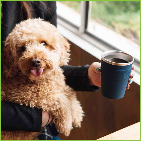 A person holding a coffee in a reusable cup in one hand and holding a very cute small dog in the other hand.
