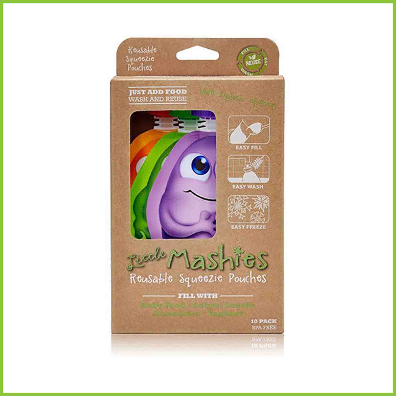 A 10 pack of Little Mashies reusable food pouches in it's cardboard packaging.