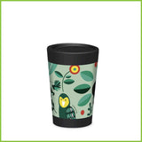 A CuppaCoffeeCup - A lightweight reusable coffee cup with a green design of New Zealand native birds and flowers.