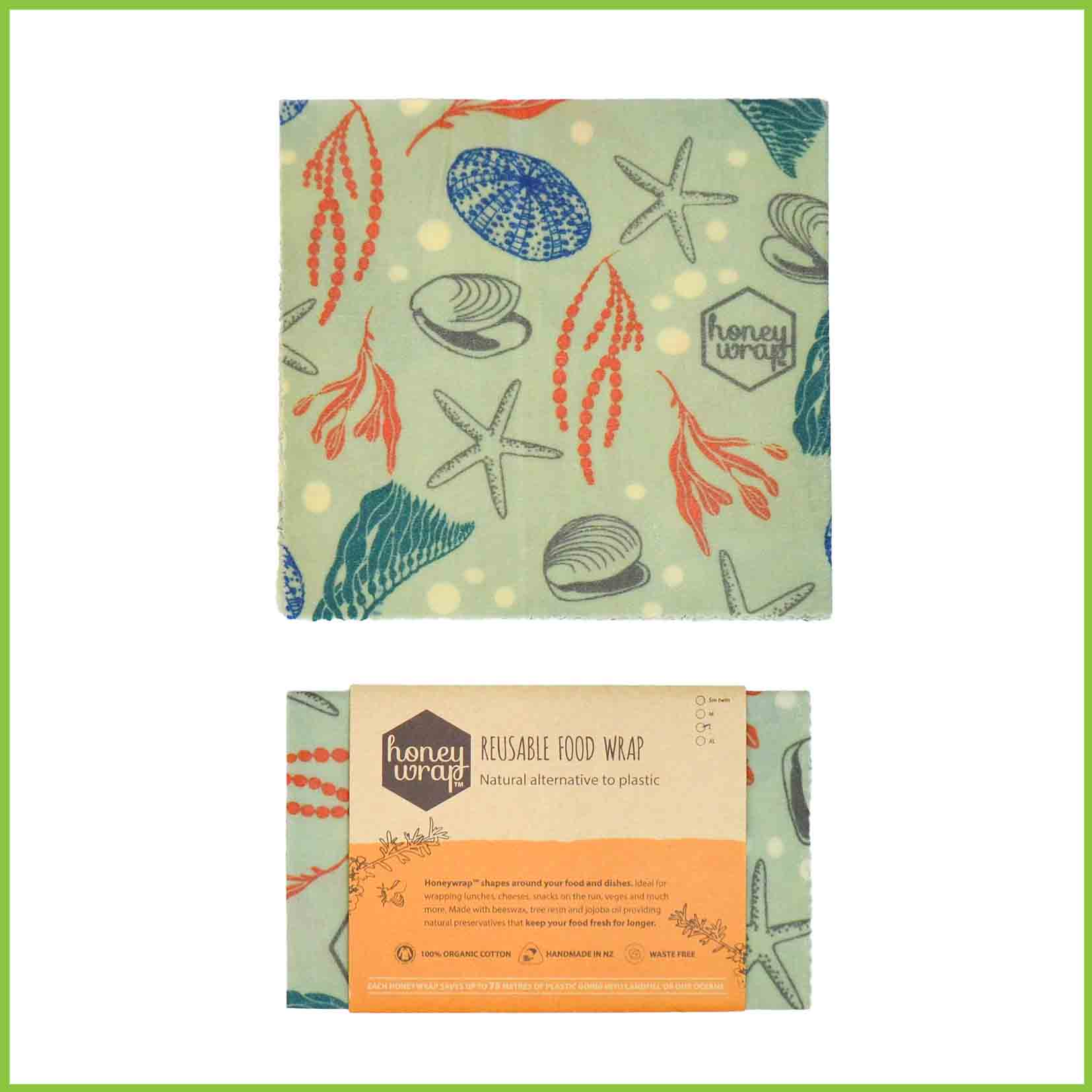 Honeywrap beeswax wrap with an ocean design.