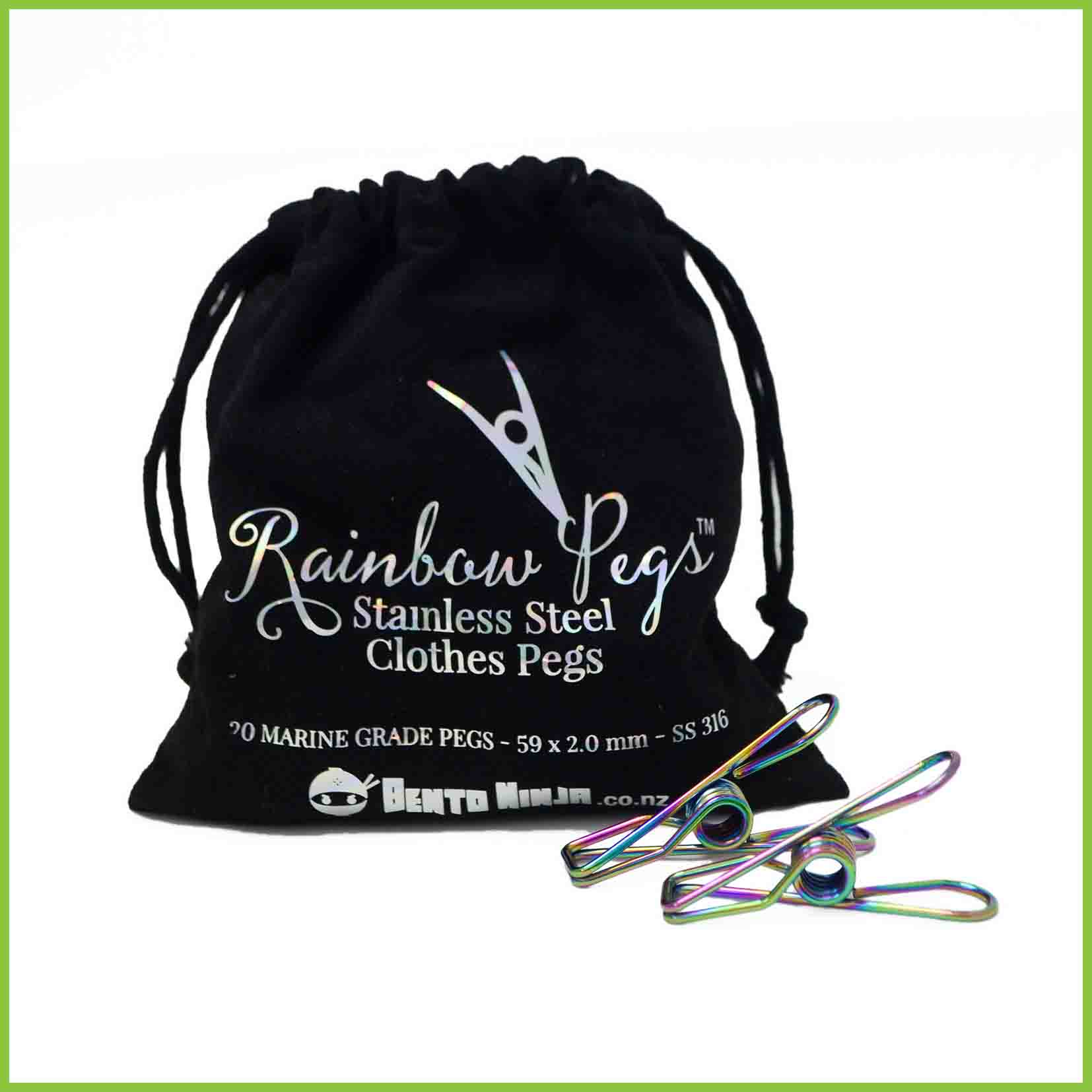 A cotton bag of 20 marine grade stainless steel rainbow coloured pegs