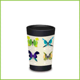 A CuppaCoffeeCup - A lightweight reusable coffee cup with several butterflies cleverly drawn from New Zealand native birds.