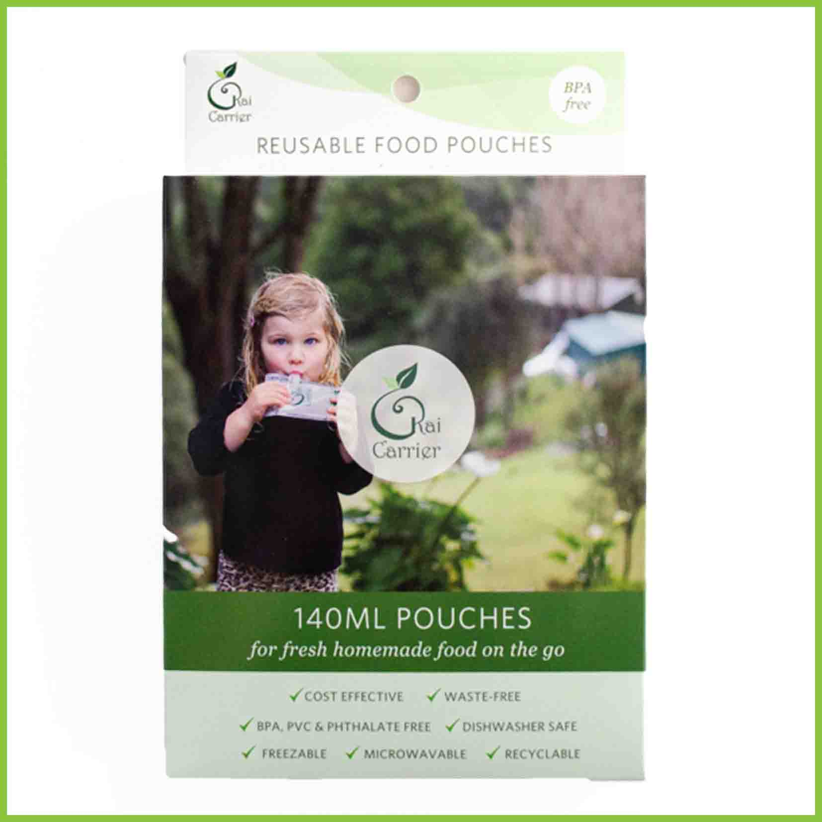 Kai Carrier baby food pouches packaging.