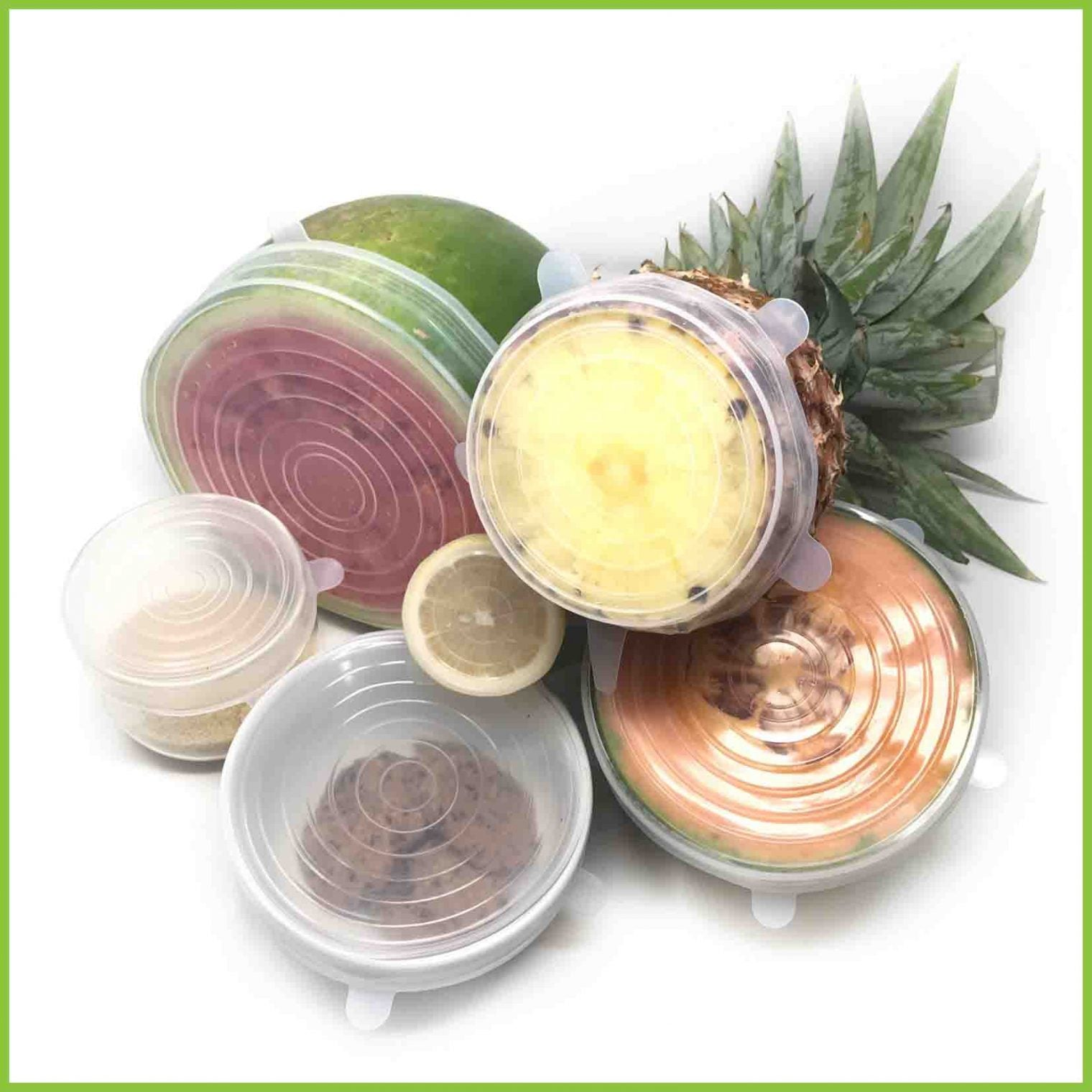 6 reusable silicone lids keeping various foods fresh.