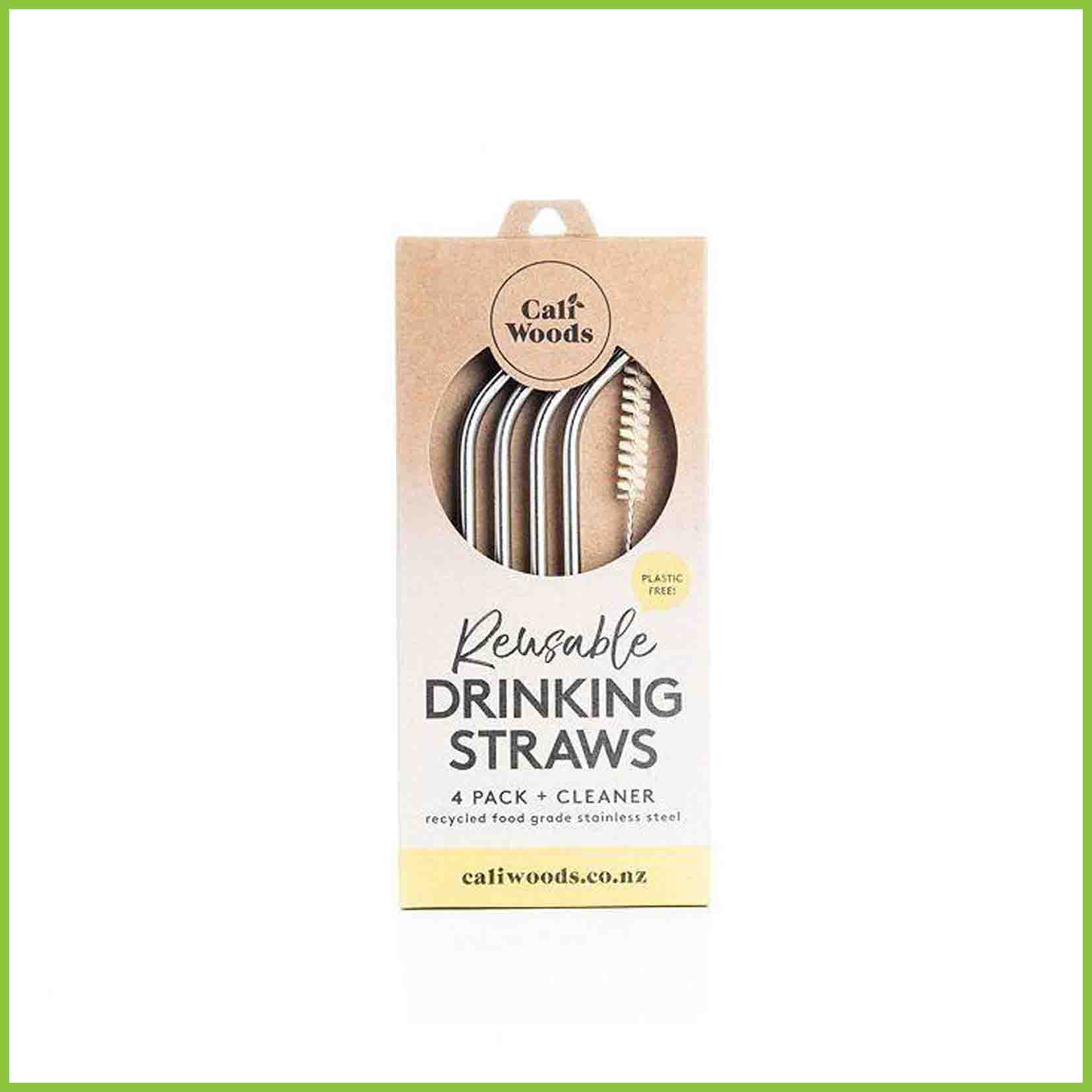 Caliwoods drinking straws in their packaging
