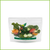 A reusable zip lock bag filled with a salad.