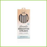 A pack of four stainless steel smoothie straws.