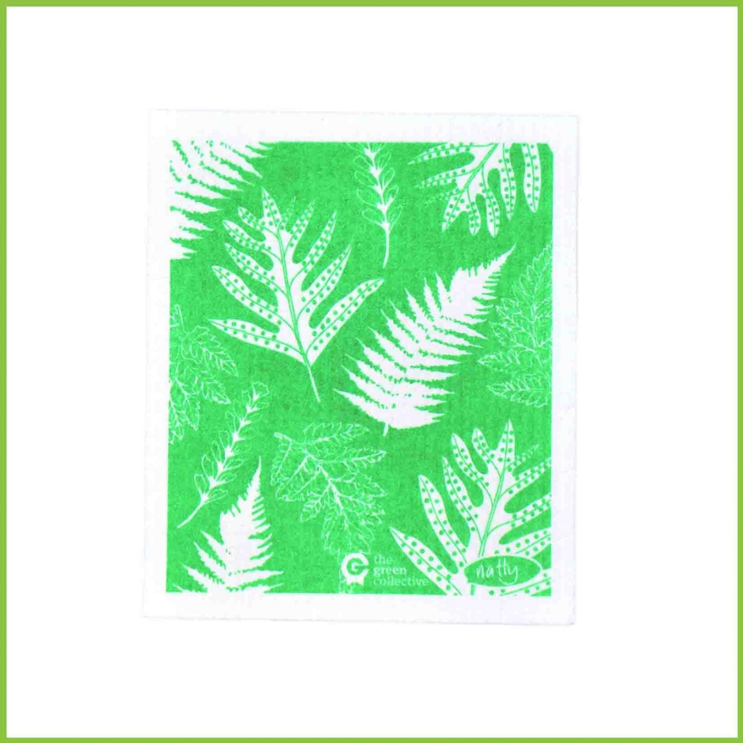 A Spruce cloth from the green collective with a fern design.