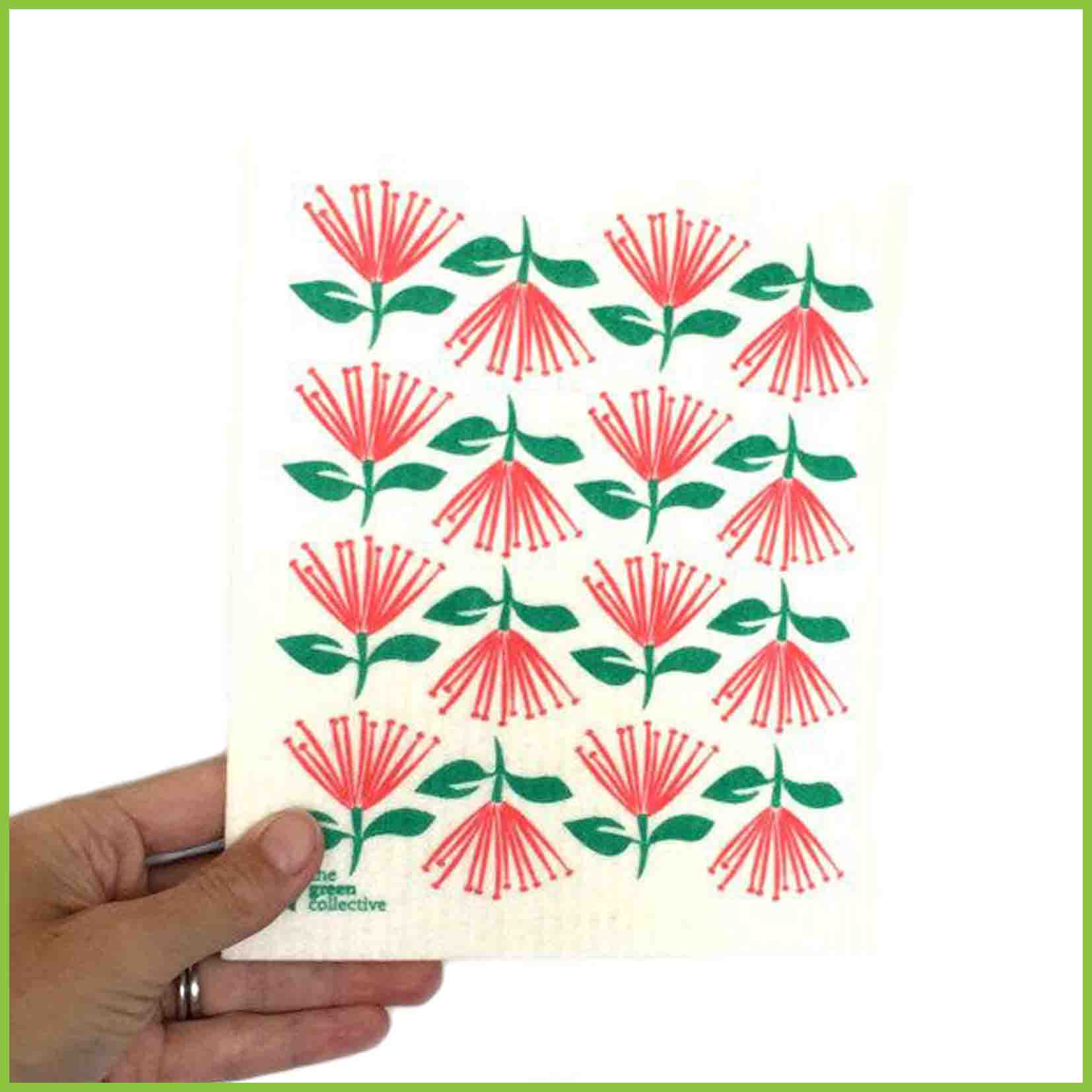 Spruce cloth with a pohutukawa design.