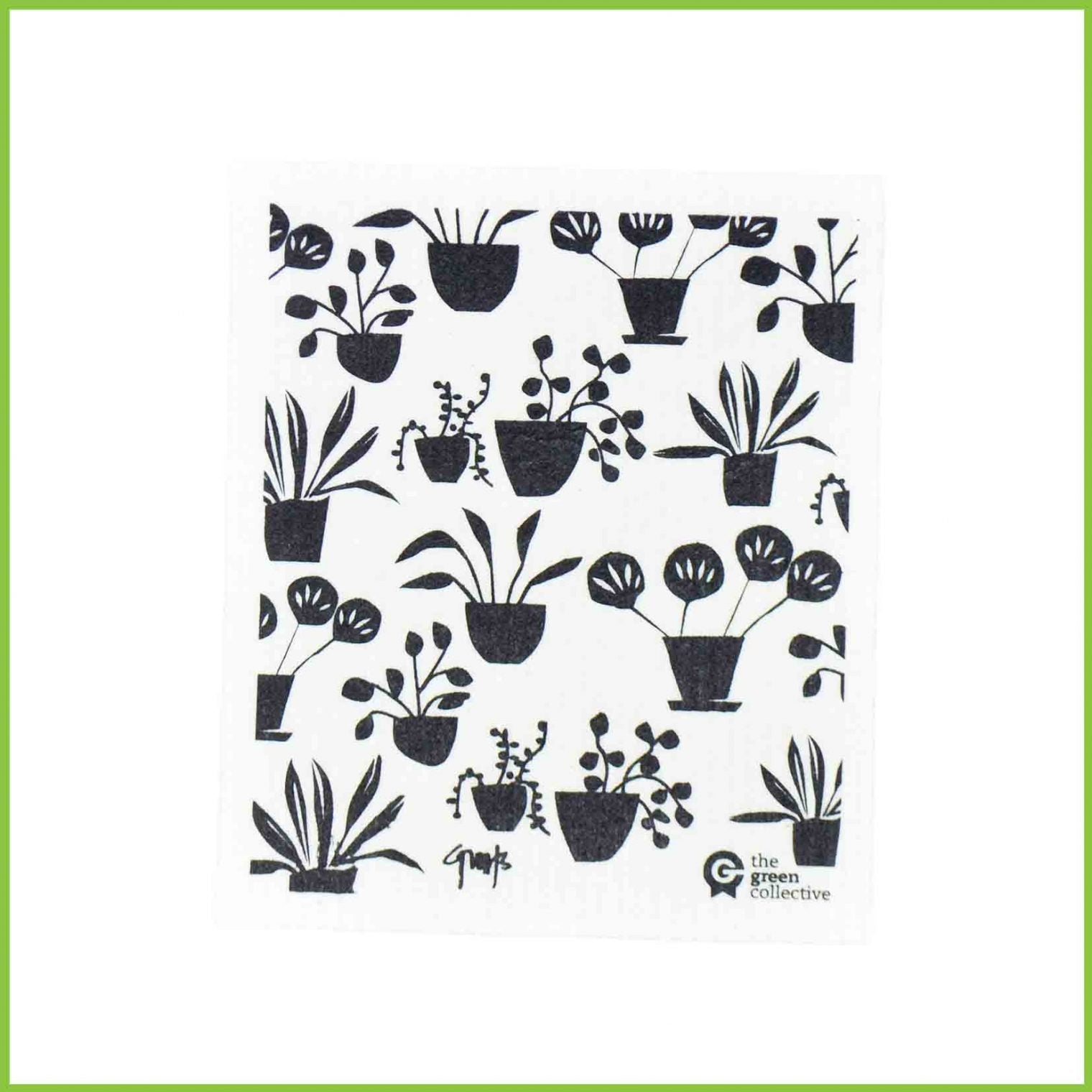 A Spruce cloth from the green collective with a pot plant design.