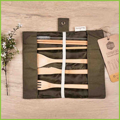A travel cutlery set, made from bamboo.