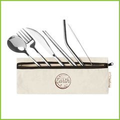 A travel cutlery set made from stainless steel.