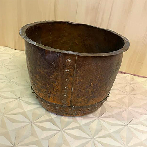 VINTAGE SOLID COPPER RIVETTED URN