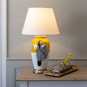 ZEBRA LAMP WITH WHITE SHADE