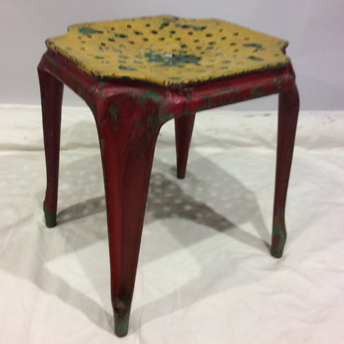 Yellow and deep red 1940 french tholix stool