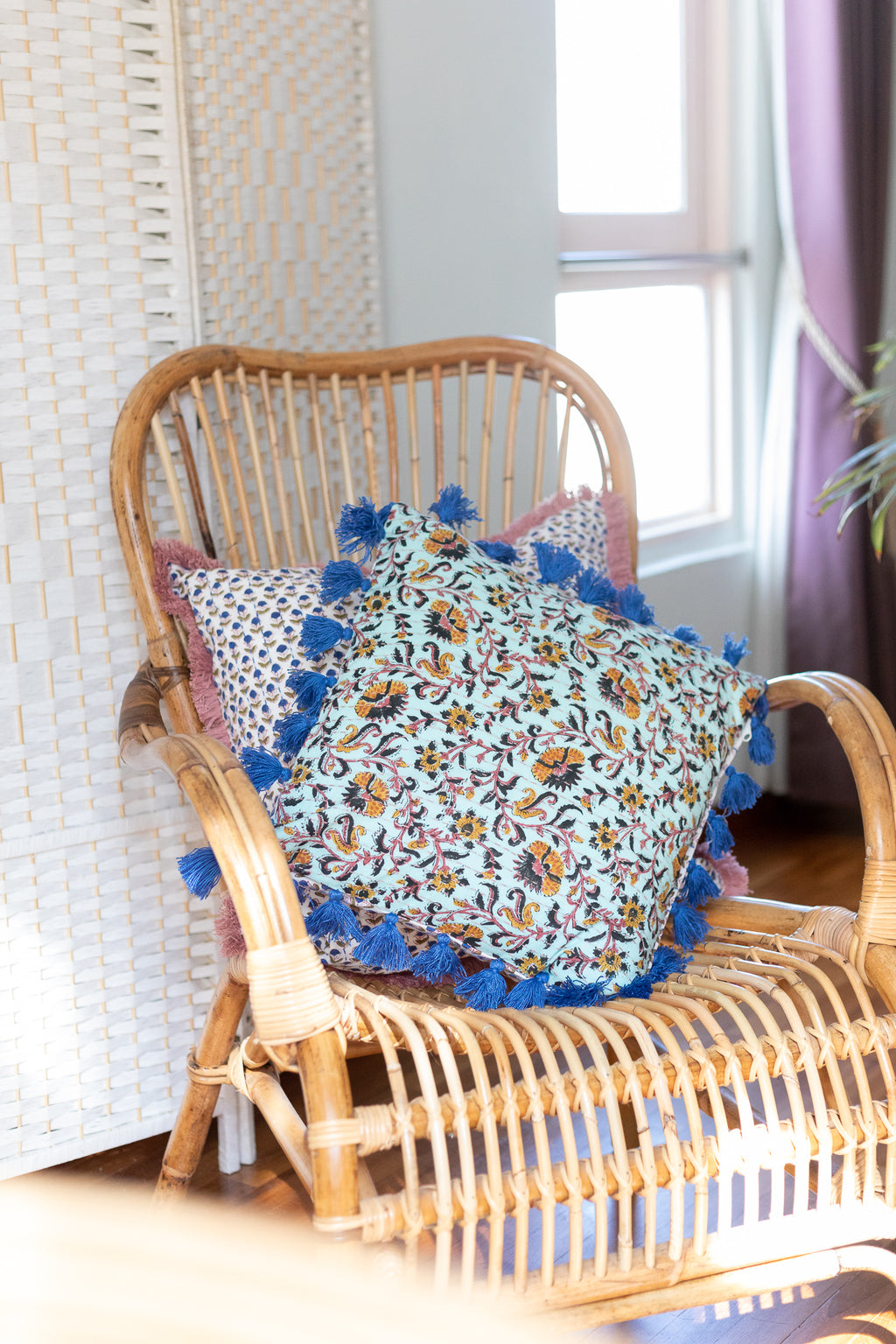 Small Turquoise Cushion cover with Blue Tassels